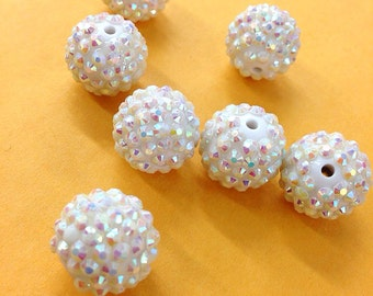 12 PC  16mm AB White basketball wives resin rhinestone bead . 16mm