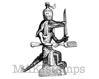 Invitation stamp / Egyptian crocodile with cutlery / Unmounted rubber stamp (130813)
