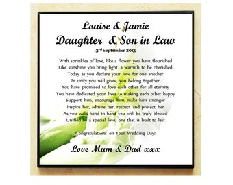 Unique Wedding Gifts For Son And Daughter In Law : ... Plaque. Wedding Poem Gift. Daughter & Son in Law. Complete with Stand