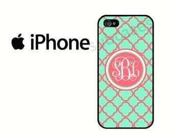 iPhone 6 Case Personalized Mint Coral Lattice iPhone 5S Case, iPhone 4 Case, iPhone 5 Case, Monogram iPhone 5C Case