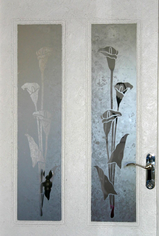 Original Design Calla Lily Acid Etched Glass Door