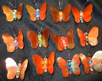 Small Hand-made Copper Butterfly Clips/Ornaments
