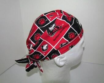 NIU HUSKIES Huskies University of Illinois Tie Back Surgical Scrub Hat