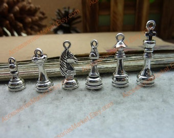 45 Chess Pieces Charms, Silver Tone Chessman Shape Pendants T-c7650, c7651, c7652, c7653, c7654, c7655