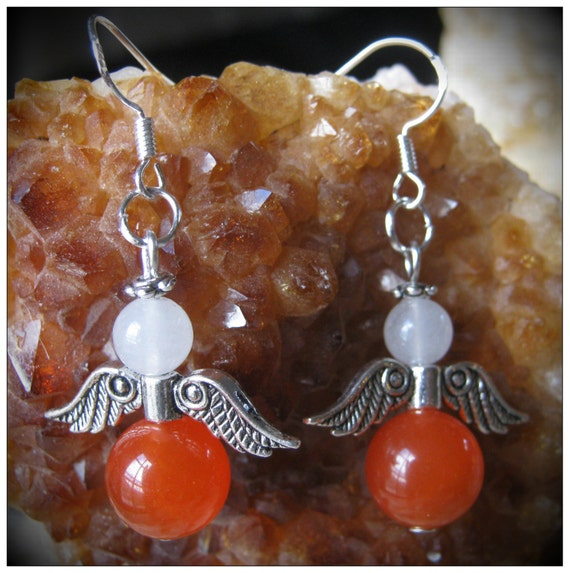 Handmade Silver Guardian Angel Earrings with Orange Topaz & White Opal by IreneDesign2011