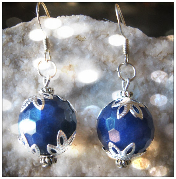 Handmade Silver Earrings with Facetted Blue Jade