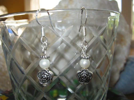 Beautiful Silver Hook Earrings with White Pearl & Rose