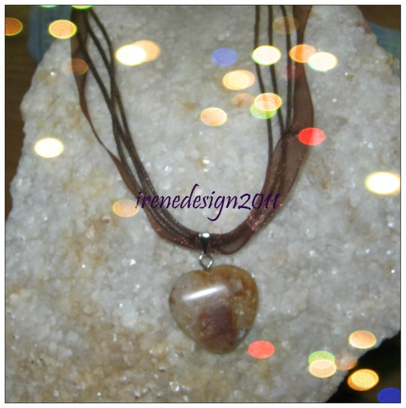 Beautiful Brown Silk Necklace with Agate Heart, Adjustable