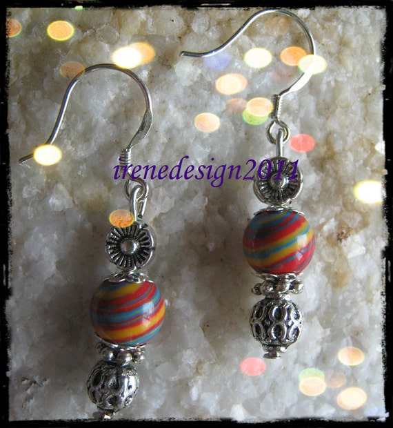 Handmade Silver Earrings with Striped Gemstone & Flower by IreneDesign2011