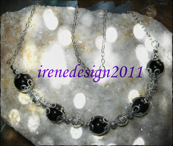 Beautiful Silver Necklace with Red Garnet by IreneDesign2011