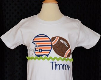 Personalized Initial Football & Helmet Applique Shirt or Onesie