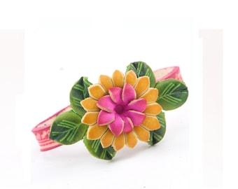 Genuine Leather Flower Bracelet /  Yellow Pink Flower Bracelet