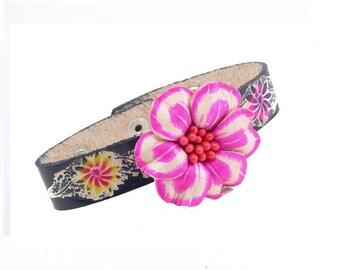 Genuine Leather Flower Bracelet /  Pink and Black Flower  Bracelet /  Boho Chic