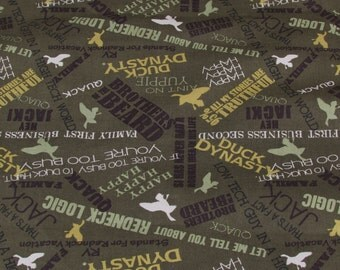 Per Yard, Duck Dynasty Sayings Fabric Olive Green From Springs Creative