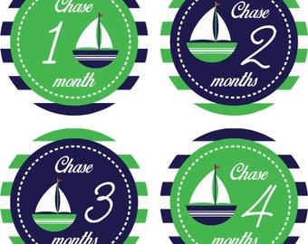 Monthly Milestone Stickers for Boys, Monthly Bodysuit Stickers, Baby Month Stickers, Monthly Stickers [Set of 12] [1 to 12 MONTHS] Name
