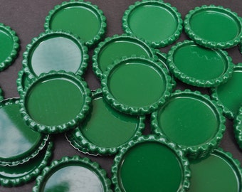 25 Green Flattened Bottle caps,You CHOOSE colors, NO Holes Bottlecaps, colored bottle caps, animal print bottlecaps, flat bottle caps, flat