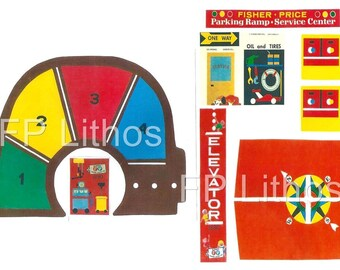 Vintage Fisher-Price Little People Play Family GARAGE 930 REPLACEMENT LITHOS (Stickers Decals)