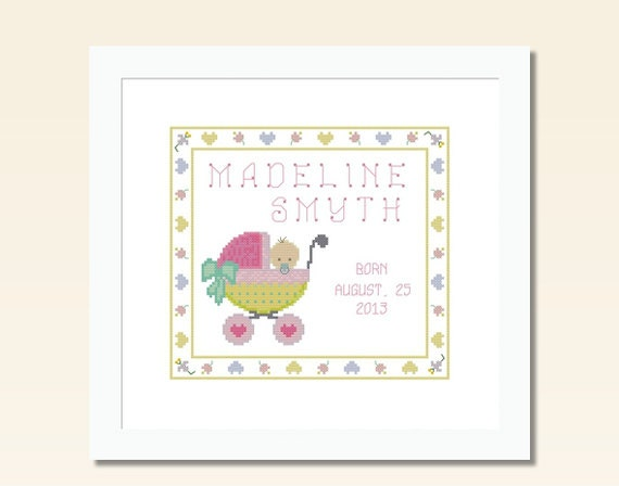 Two Counted Cross Stitch Patterns Baby Girl Boy Birth Record – Birth Announcements Cross Stitch