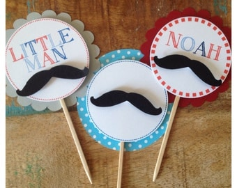 Little Man Mustache Cupcake Toppers