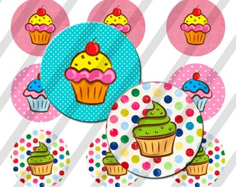 INSTANT DOWNLOAD  4x6 cupcakes Bottle Cap Images Digital Collage Sheet for bottlecaps
