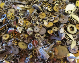 10 Grams Steampunk Watch Parts, Old Vintage Watch Parts, Cogs, Wheels, Gears, Stems, Genuine Watch Parts, For Scrapbooking, Steampunk 3C101