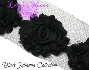 Black Shabby Rose Trim - Shabby Flower Trim - Shabby trim - Shabby Flower - Chiffon Flower - Shabby Chic - Rose Trim - Wholesale - Julianna