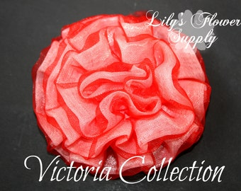 New Vintage Light Petti Puff - Red Puff - Chiffon Flower - Ruched Flower - Embellishment - Headband Supply - Victoria Collection