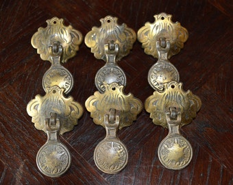 Antique Set of 6 Drawer Pulls English Brass Drop Drawer Hardware