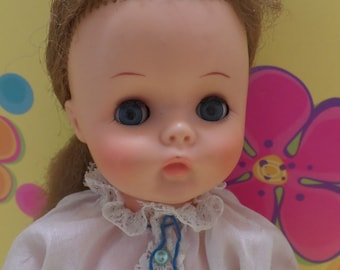 """1970s Plastic Girl doll, Strawberry blonde, blue open/close eyes, orig. clothes, 12"""""""