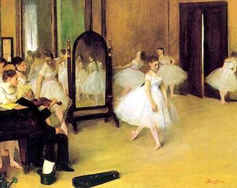 "Edgar Degas, Dance Class, 1870, Ballet, Ballerina, Violinist, Dutch. 11x14"" Cotton Canvas Print"