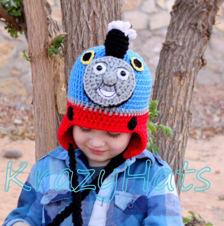 Free Crochet Hat Pattern For Thomas The Train : Crochet Thomas the Train hat. Crochet train hat. by KrazyHats2