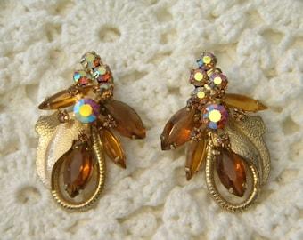 Aurora Borealis Amber Rhinestone Clip Earrings