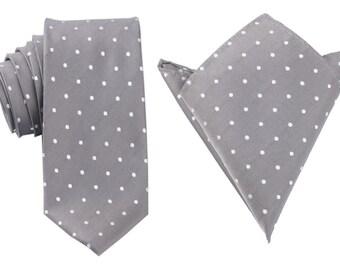 Matching Necktie + Pocket Square Combo Grey with White Polka Dots (X240-T85+PS) Men's Handkerchief + Neck Tie 8.5cm Ties Neckties Wedding