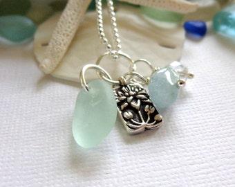 Sea Glass Jewelry: Lotus Charm Necklace Beach Wedding