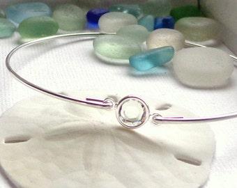 Tiny Crystal Bangle Bracelet