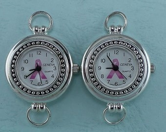 CLOSEOUT SPECIAL! 2 Silver Plated Pink Awareness Ribbon Round  Watch Faces, Watch Supplies,  Jewelry Supply, Charm Findings