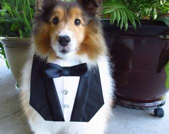 Dog Tuxedo Deluxe Wedding Black Bandana Vest by Sew It Themes