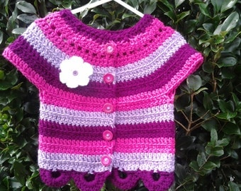 Crochet baby girl sweater, striped, short sleeves, purple, burgundy, hot pink fuschia stripes, baby or toddler girls, bright color, red vest