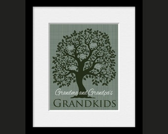 Grandparent Tree, Grandchildren Family Tree, Grandparent's Gift, Personalized Grandparent Tree, Christmas Gift for Grandparents, Family Gift