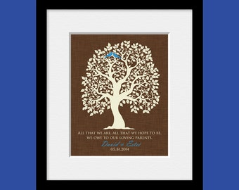 Gift for Parents, Wedding Gift for Parent, Thank You Gift for Parent, Love Bird Tree Parent Gift, Brides Parent's Gift, Grooms Parent's Gift