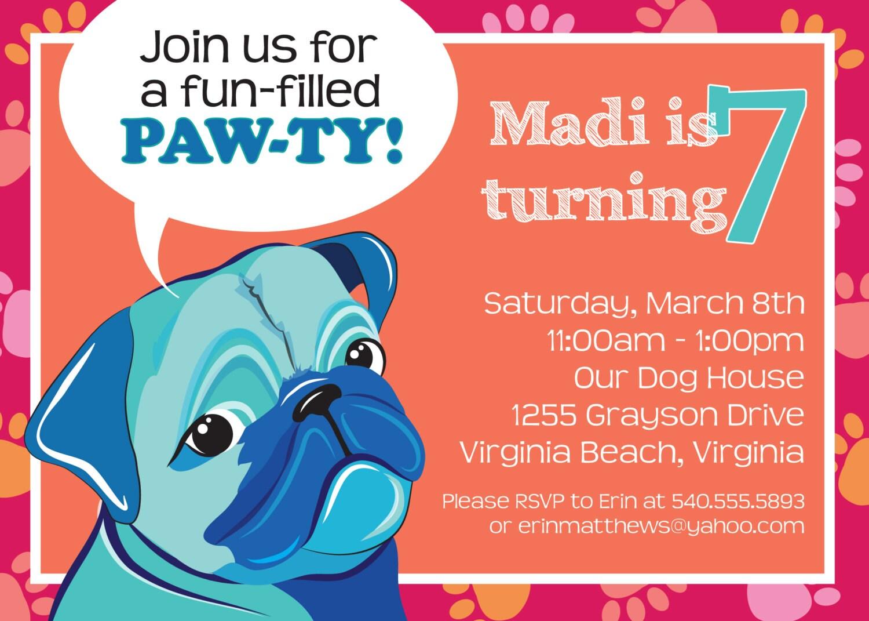 zoom - Dog Birthday Party Invitations