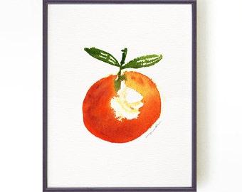Clementine watercolor print, Kitchen Art, Fruit Art, Home decor, Food artwork, Kitchen wall art, Orange fruit art Buy 2 Get 1 Free