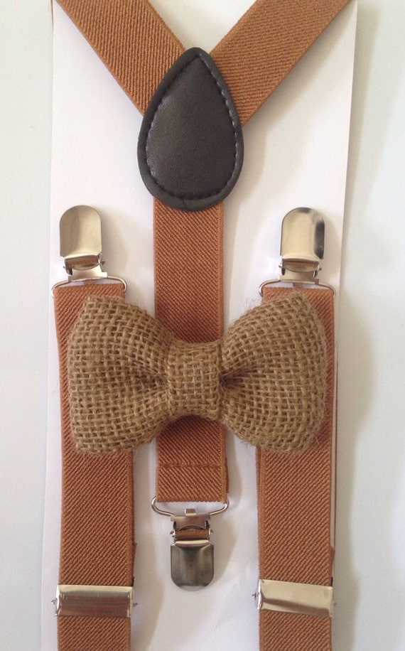 Light Brown Suspenders And Matching Burlap Bow Tie Set Kids