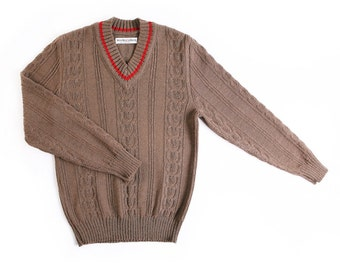 Men's knitted lambswool V-neck Sweater/jumper/pulover/cardigan/plaits/cable/brown/gray/black