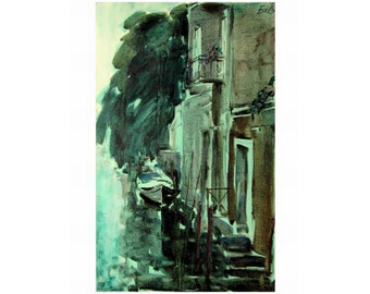 Corner of Venice - Venetian landscape - original oil painting on paper