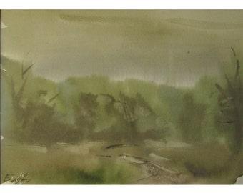 Rain in the forest - original watercolor