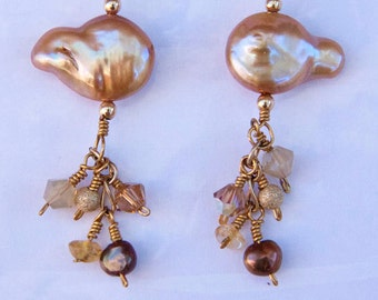Baroque Beauty Earrings - citrine, gold pearls, swarovski crystal, stardust ball and gold