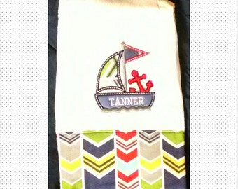 Burp Cloth/Personalized Baby Boy's Sail Boat/Monogrammed Burp Cloth/Appliqué Sailboat Burp Cloth/Burp Rag/Personalize Burp Cloth/Baby Gift