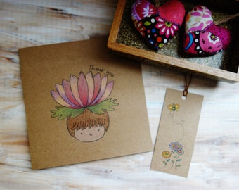 Lotus Flower Thank You Card. Hand Drawn Card. Hand Illustrated Personalized Lotus Girl Card with Envelope