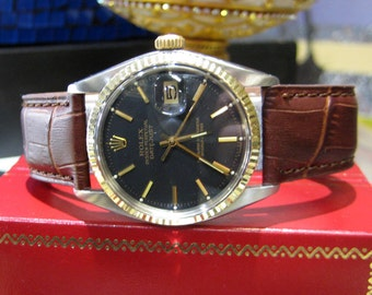 Mens Vintage ROLEX Datejust Yellow Gold Steel Black Dial Watch on Leather Strap